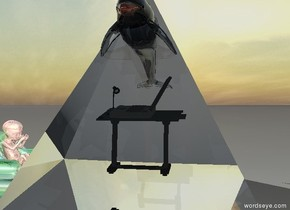 a big shiny fetus is on the small glass chair.   the small glass chair is facing the small table.  computer on the small table.  computer is facing the fetus.  the giant transparent pyramid is 18 inches in the computer.   the small transparent dolphin is 30 inches in the pyramid.    there is one transparent tiny tree 1 inch left of the fetus.
