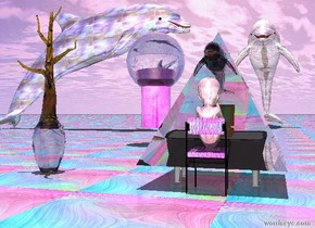 a giant shiny fetus is on the small glass chair.   the small glass chair is facing the small table.  the small glass chair is 4 inches south of the table.  computer on the small table.  computer is facing the shiny fetus.  the giant transparent pyramid is 18 inches in the computer.   the small transparent dolphin is 30 inches in the pyramid.  it is noon.   there is one transparent tiny tree 47 inch west of the shiny  fetus.  the transparent tree is 10 inch in the transparent vase.  A huge purple light is above computer.  it is bright day.   the giant glass dolphin is facing   east.   the giant glass cylinder 10 feet north of the tree.   the giant transparent sphere is 18 inches in the cylinder.   the ground is glass.   the giant glass dolphin 40 feet north of the table.