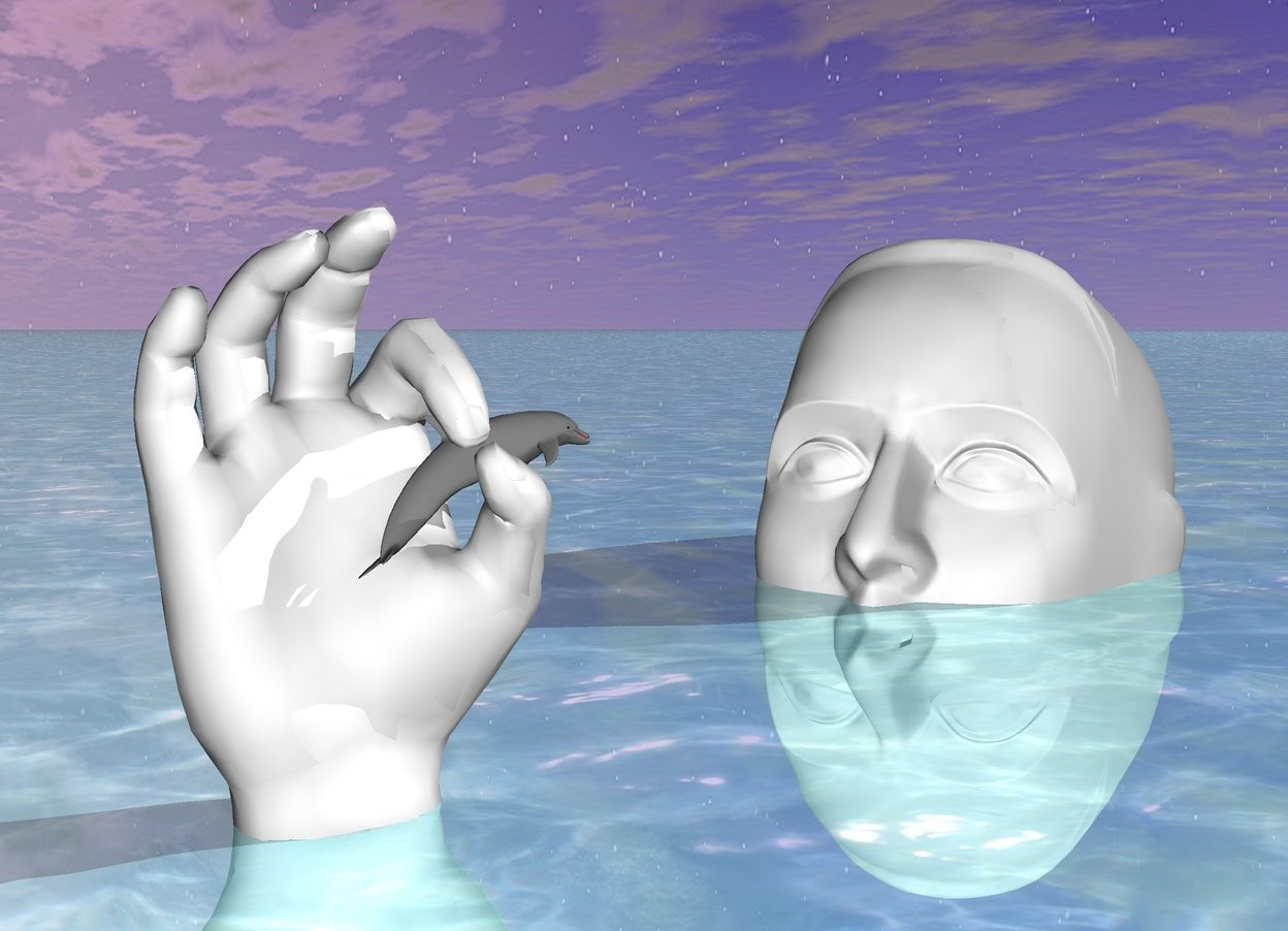 Input text: It is morning. The ground is shiny water. The tiny light gray dolphin is in front of the very giant white hand. The hand is -2 inch above the ground. The dolphin is facing right. The dolphin is  18 inch above the ground. The dolphin is -14 inch away from the hand. The dolphin is leaning 20 degrees to the left. The dolphin is -15 inch to the right. The enormous white head is -1 feet behind the hand. The head is -7 feet above the ground. The head is facing the dolphin. The head leans backwards. The head is 3 feet to the right.
