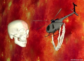 It is dawn. The ground is transparent. The giant skull is shiny white. The skull is 90 inch above the ground. The tiny gray helicopter is in front of the skull. The skull is facing the helicopter. The helicopter is facing the skull. The helicopter is 20 inch in front of the skull. The helicopter is 100 inch above the ground. the helicopter leans forwards. The upside down giant shiny hand is -25 inch under the helicopter. The hand leans forwards. The hand is -50 inch behind the helicopter. The camera light is white. The enormous unreflective  wall is fire. The wall is -20 feet away from the skull. The wall is next to the skull. The wall is facing the skull. The wall is above the ground.
