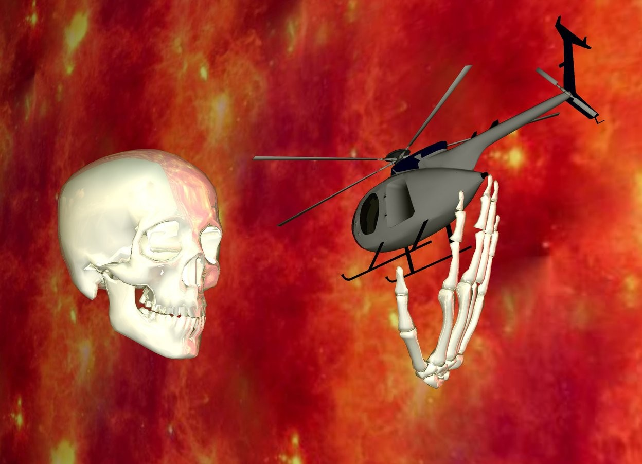 Input text: It is dawn. The ground is transparent. The giant skull is shiny white. The skull is 90 inch above the ground. The tiny gray helicopter is in front of the skull. The skull is facing the helicopter. The helicopter is facing the skull. The helicopter is 20 inch in front of the skull. The helicopter is 100 inch above the ground. the helicopter leans forwards. The upside down giant shiny hand is -25 inch under the helicopter. The hand leans forwards. The hand is -50 inch behind the helicopter. The camera light is white. The enormous unreflective  wall is fire. The wall is -20 feet away from the skull. The wall is next to the skull. The wall is facing the skull. The wall is above the ground.