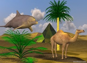 the camel is in the desert. the yellow light is above the camel.  the small palm tree is 5 feet behind the camel.  the huge dirt dolphin is behind the camel. it is left of the camel. it is above the camel. it is facing southeast.  a 20 foot tall transparent yellow pyramid is 50 feet behind the tree. it is facing southwest.  the camel is facing southeast.  a green palm tree is left of the camel.
