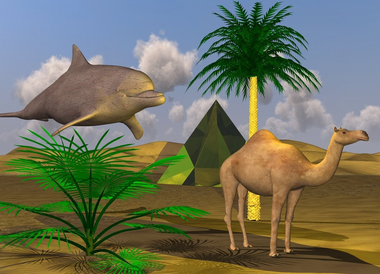 Input text: the camel is in the desert. the yellow light is above the camel.  the small palm tree is 5 feet behind the camel.  the huge dirt dolphin is behind the camel. it is left of the camel. it is above the camel. it is facing southeast.  a 20 foot tall transparent yellow pyramid is 50 feet behind the tree. it is facing southwest.  the camel is facing southeast.  a green palm tree is left of the camel.