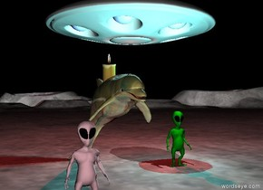 the moonscape. an large glass dolphin is three feet to the left of the light green alien. an enormous candle is in the dolphin. the cyan light is above the alien. A white light is above and in front of the alien. it is night. the ufo is behind the alien. it is 5 feet above the dolphin. the red light is below the ufo. a pink alien is in front of and to the left of the dolphin.