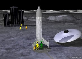 There is a shiny gray rocket ship. The sky is black. The shiny spaceship is 6 feet to the right of the rocket. The spaceship is leaning to the right. The first  light green alien is in front of the rocket. The second yellow alien is to the left of the first alien. The third small orange alien is to the left of the second alien.  There is a 30 feet tall skyscraper 90 feet behind the rocket. The  20 feet tall second skyscraper is to the left of the skyscraper. The 25 feet tall third skyscraper is 10 feet to the right of the skyscraper. The fourth yellow alien is in front of the skyscraper. The fifth orange alien is 30 feet in front of the fourth yellow alien. The sixth yellow alien is 5 feet to the left of the fifth orange alien. The bright midnight blue light is above the rocket.
