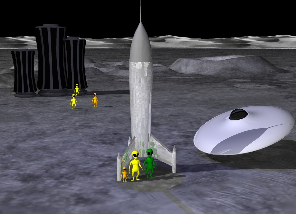 Input text: There is a shiny gray rocket ship. The sky is black. The shiny spaceship is 6 feet to the right of the rocket. The spaceship is leaning to the right. The first  light green alien is in front of the rocket. The second yellow alien is to the left of the first alien. The third small orange alien is to the left of the second alien.  There is a 30 feet tall skyscraper 90 feet behind the rocket. The  20 feet tall second skyscraper is to the left of the skyscraper. The 25 feet tall third skyscraper is 10 feet to the right of the skyscraper. The fourth yellow alien is in front of the skyscraper. The fifth orange alien is 30 feet in front of the fourth yellow alien. The sixth yellow alien is 5 feet to the left of the fifth orange alien. The bright midnight blue light is above the rocket.