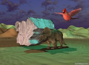 the dinosaur four feet right of the huge boulder. a cyan light is five feet above the dinosaur.  the desert is tall.  a pink light is 10 feet in front of the boulder.  A 6 foot tall cardinal is 2 feet above and to the right of the dinosaur.