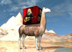 the llama is on the very tall shiny [rock] mountain range. the large [dolly] cube is -2.5 feet above the llama.