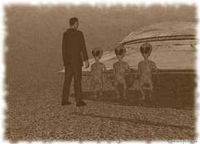 three small navy blue aliens in front of a silver flying saucer. small business man is standing 3 feet in front of aliens. the man is facing aliens. the ground is grass