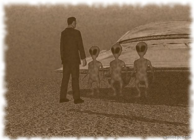 Input text: three small navy blue aliens in front of a silver flying saucer. small business man is standing 3 feet in front of aliens. the man is facing aliens. the ground is grass