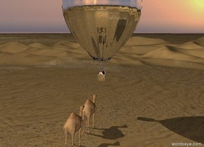 the silver hot air balloon is 10 feet above the ground. the camel is 5 feet in front of the balloon. it is on the ground. it is facing the balloon. the second camel is behind the camel. it is facing the balloon.