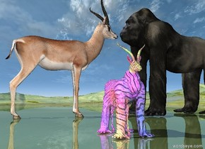 the large gorilla is on the shiny grass mountain range. the large  gazelle is a few inches to the left of the large gorilla. it is facing the gorilla. The gorilla is facing the gazelle.   The small glass gorilla is 8 feet in front of the gazelle. the second glass gazelle is -3.1 feet in front of the small glass gorilla. it is 3.5 feet tall.