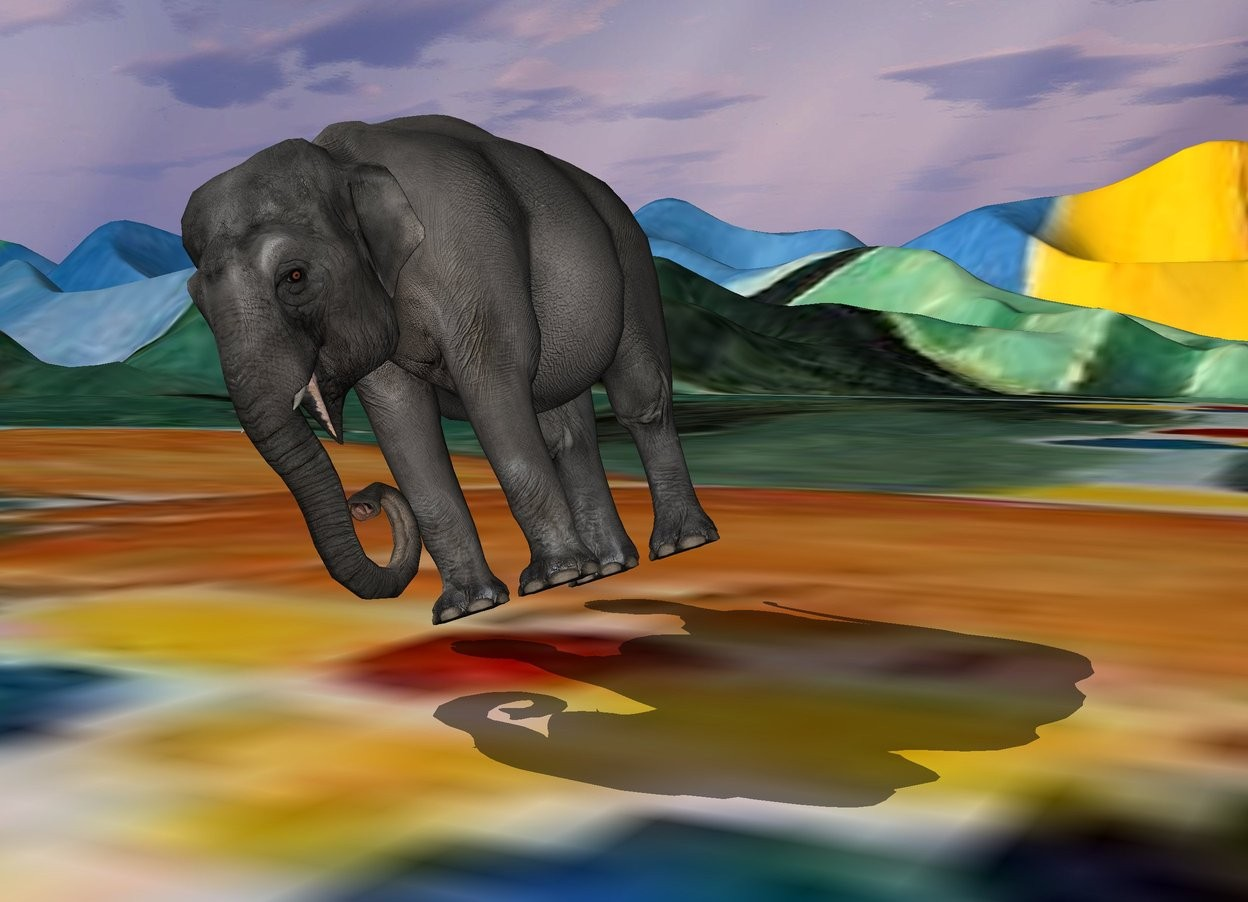 Input text: the elephant is leaning right. the tall matisse ground.
