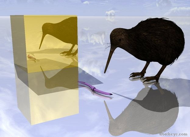 Input text: the enormous lavender worm is several inches in front of the very large bird. it is facing right. the ground is shiny. the huge gold cube is 4 feet to the left of the worm.