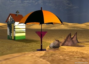 the camel is 6 feet in the desert. the  van gogh shack is eight feet left of the camel. the shack is on the ground. the camel is leaning left.  A huge magenta martini glass is in front of the camel. it is on the ground. the large umbrella is in the glass.   the yellow light is above the camel. a pink light is three feet right of the glass. it is five feet above the ground.