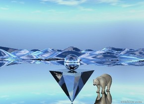 the ground is silver. the huge transparent pyramid is upside down. the polar bear is 3 feet behind the pyramid. the big silver sphere is on the pyramid.