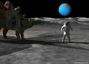 the sky is black.  the astronaut is on the ground. the camera light is black.  the enormous earth sphere is 10 feet above the ground. it is 50 feet behind the astronaut.  the matisse dinosaur is 5 feet away from the astronaut. it is facing the astronaut. the white light is 1 foot above the dinosaur.