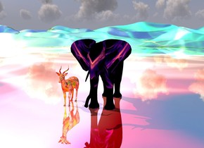 There is a [rainbow]  african elephant.   There is a silver [matisse] impala next to the elephant.  The [rainbow] ground is reflective.