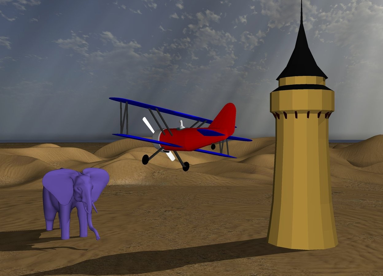 Input text: the barnstormer is 14 feet above the desert.  the barnstormer is leaning 10 degrees to the right.  the large duck is inside the barnstormer.  the large mauve elephant is 20 feet in front of the barnstormer. the elephant is 1 inch below the barnstormer. the elephant is facing the duck.   the small castle tower is 10 feet behind the elephant. the castle tower is 20 feet to the left of the elephant