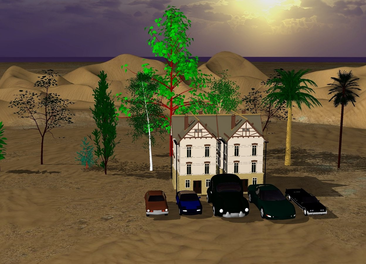 Input text:  the ground is tall. There is a small house. there is a second  small house right of the house.. There are 5 cars 3 feet in front of the houses. the cars are 2 foot apart. There are five trees behind the house.the trees are 30 feet tall. There are five trees 30 feet behind the car.