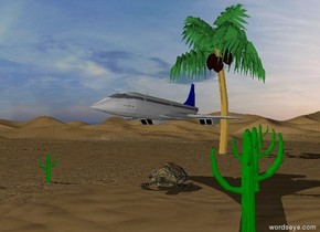 The sky is cloudy.  There is a big turtle. The small airplane is 5 feet above the turtle. The small green cactus is 13 feet left of the turtle. The second green cactus is 5 feet right of the turtle. The third green cactus is 18 feet in front of the second cactus. The fourth green cactus is 100 feet behind the green cactus. The tree is 40 feet behind the turtle.
