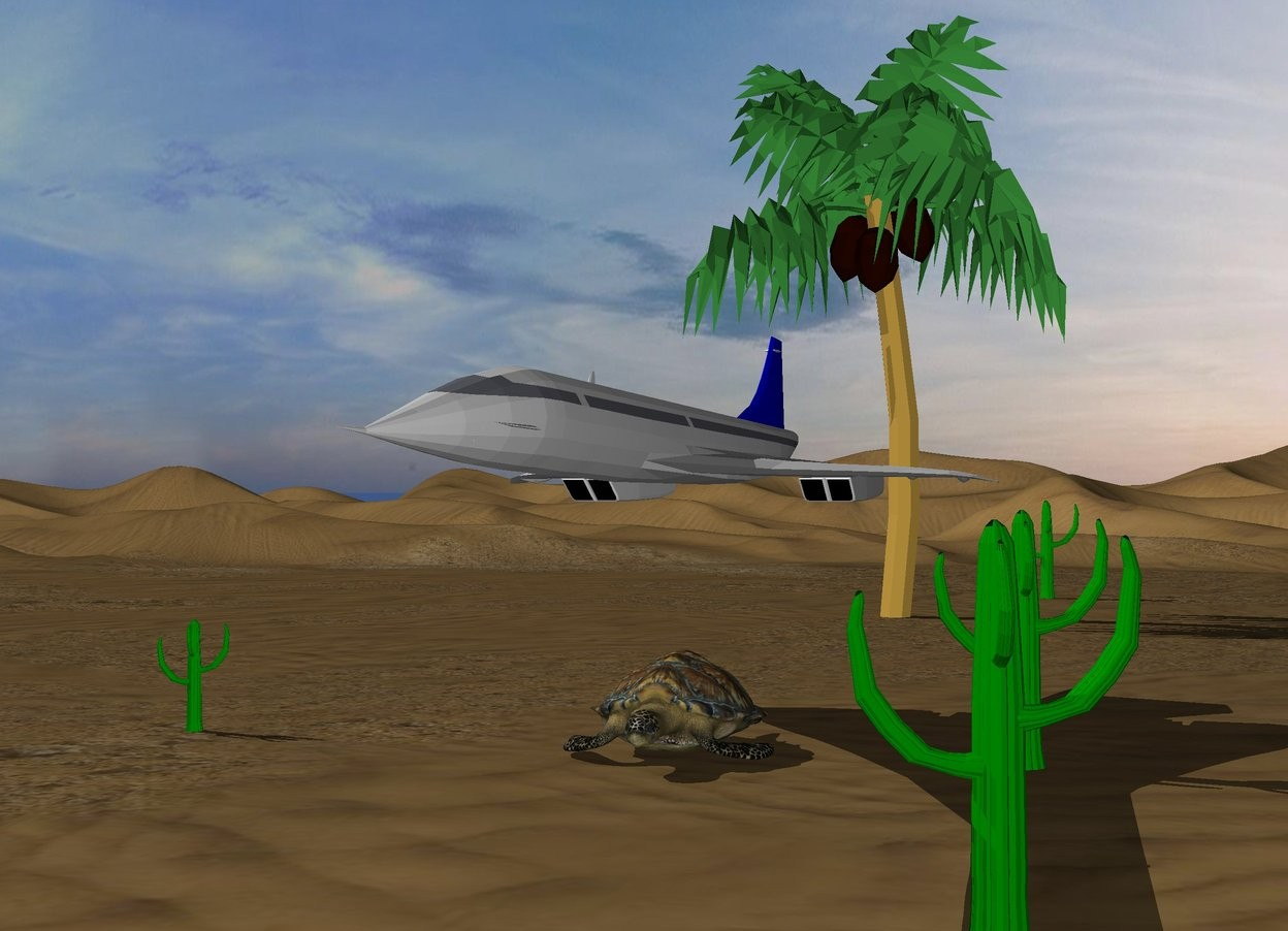 Input text: The sky is cloudy.  There is a big turtle. The small airplane is 5 feet above the turtle. The small green cactus is 13 feet left of the turtle. The second green cactus is 5 feet right of the turtle. The third green cactus is 18 feet in front of the second cactus. The fourth green cactus is 100 feet behind the green cactus. The tree is 40 feet behind the turtle.