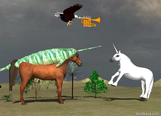 Input text: the large horse is on the tall grass mountain range. the large glass narwhale is 6.6 feet in the horse. Six very small trees are 10 feet to the right of the horse.  There is a large unicorn 5 feet  in front of the horse. It is facing the horse.  the huge trumpet is 4 feet above and behind the unicorn. the eagle is behind the trumpet. it is 3.5 feet tall.  the unicorn is leaning back.