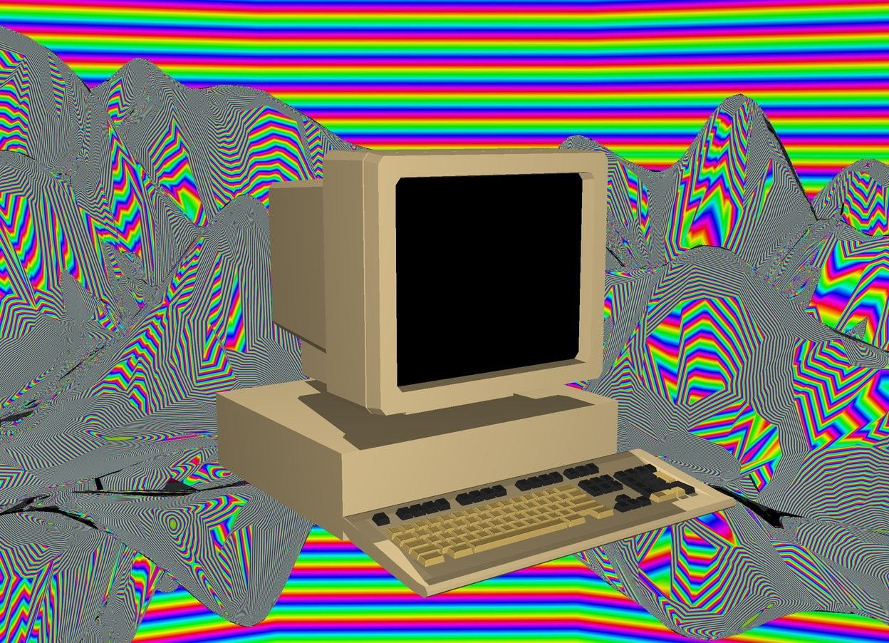 Input text: The silver ground is 100 feet tall. The sky is 100 feet high 100 feet wide rainbow. The dune cream computer is 40 feet above the ground. The screen of the computer is  black. The body of the computer is dune cream. The computer is facing right.