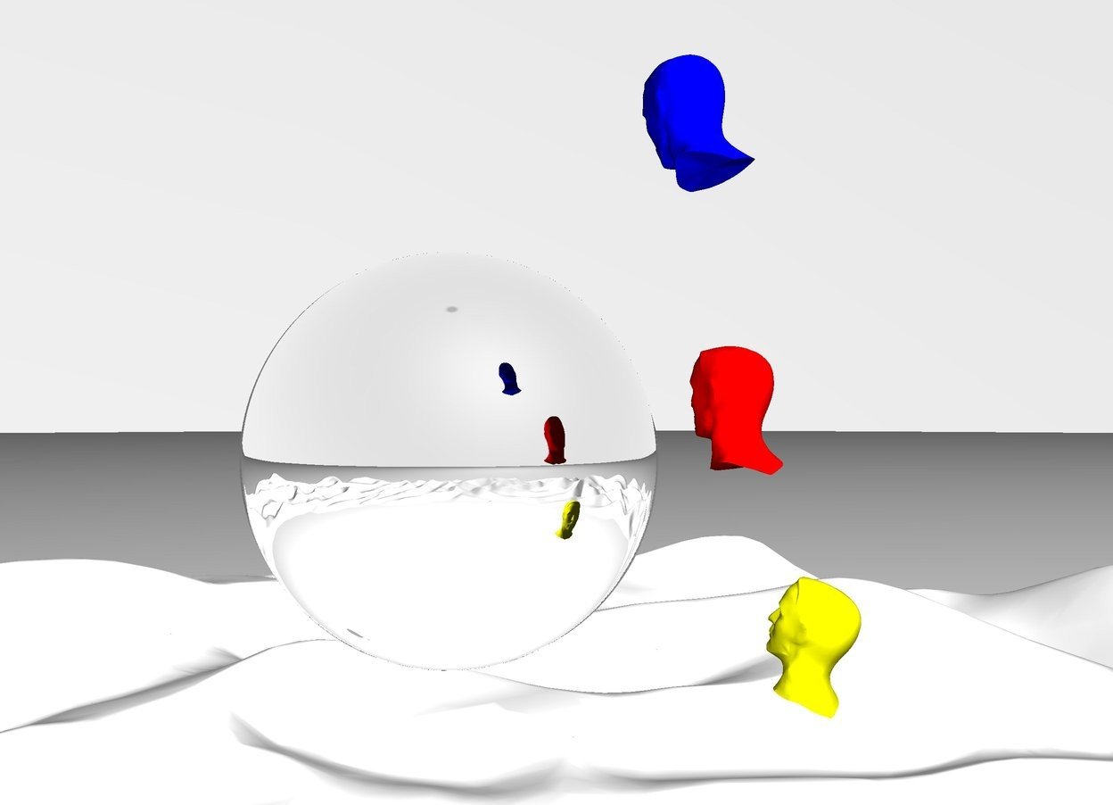Input text: It is day. The sky is white. The ground is white. The big silver orb is 40 feet above the ground. The blue head is facing the orb. The blue head is 1 feet away from the orb. The blue head is 44 feet above the ground. The blue head leans forwards. The red head is facing the orb. The red head is 1 feet away from the orb. The red head is 42 feet above the ground. The yellow head is facing the orb. The yellow head is 1 feet away from the orb. The yellow head is 40 feet above the ground. The yellow head leans backwards. The camera light is white.