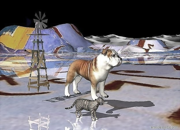 Input text: the dog is 6 inches above the shiny tall ground. the cat is next to the dog. it is on the ground.  the ground has a klee texture. the texture is 100 feet wide.  the sky is black.  the 3 foot tall rainbow windmill is a foot behind the dog.