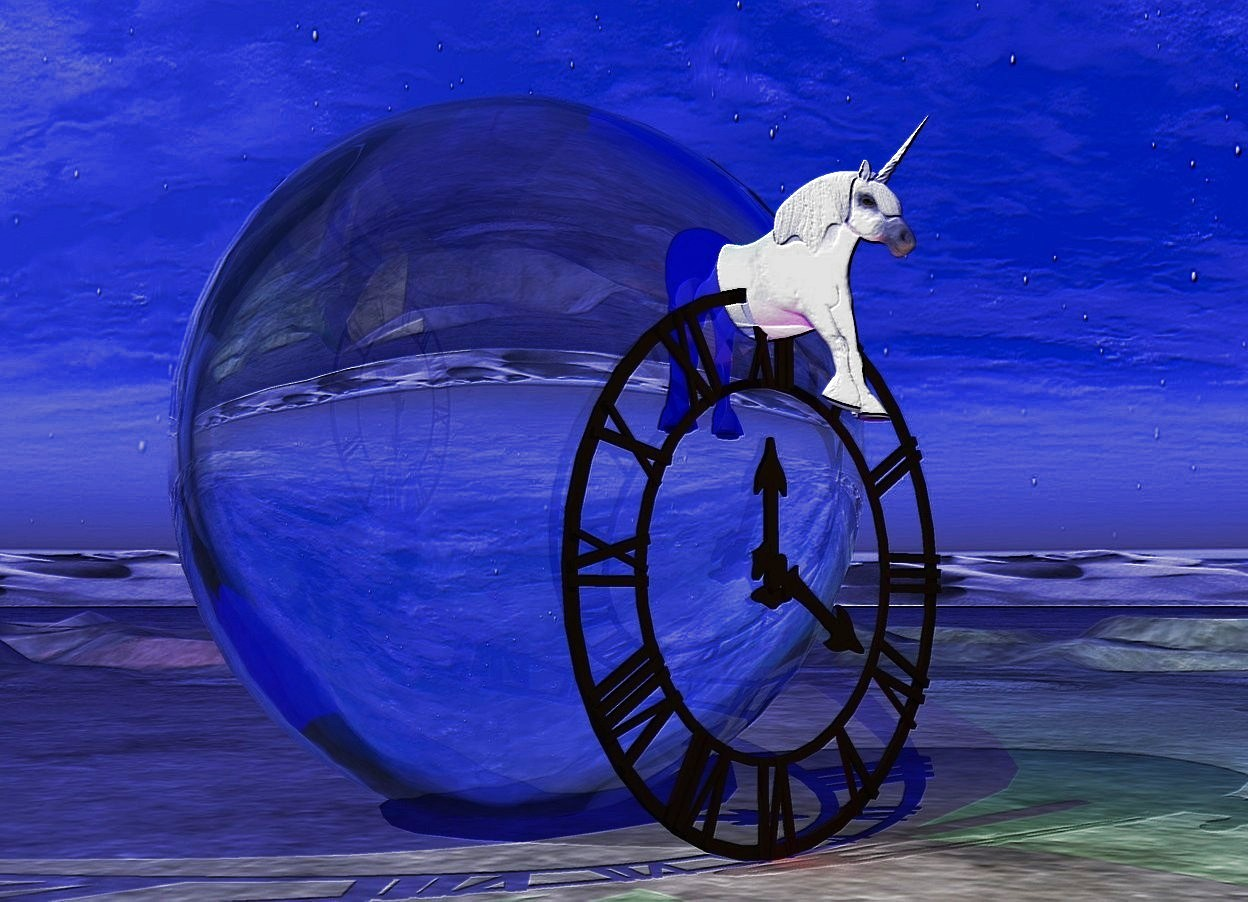Input text: The unicorn is 10 feet tall.. The ambient light is blue. There is a green light under the unicorn. There is a second green light above the unicorn. There is a yellow light in front of the unicorn. The unicorn is in the center of the clock. The clock is 20 feet tall.  the 30 feet tall transparent shiny beach ball is behind the clock. There is a red light in front of the clock.