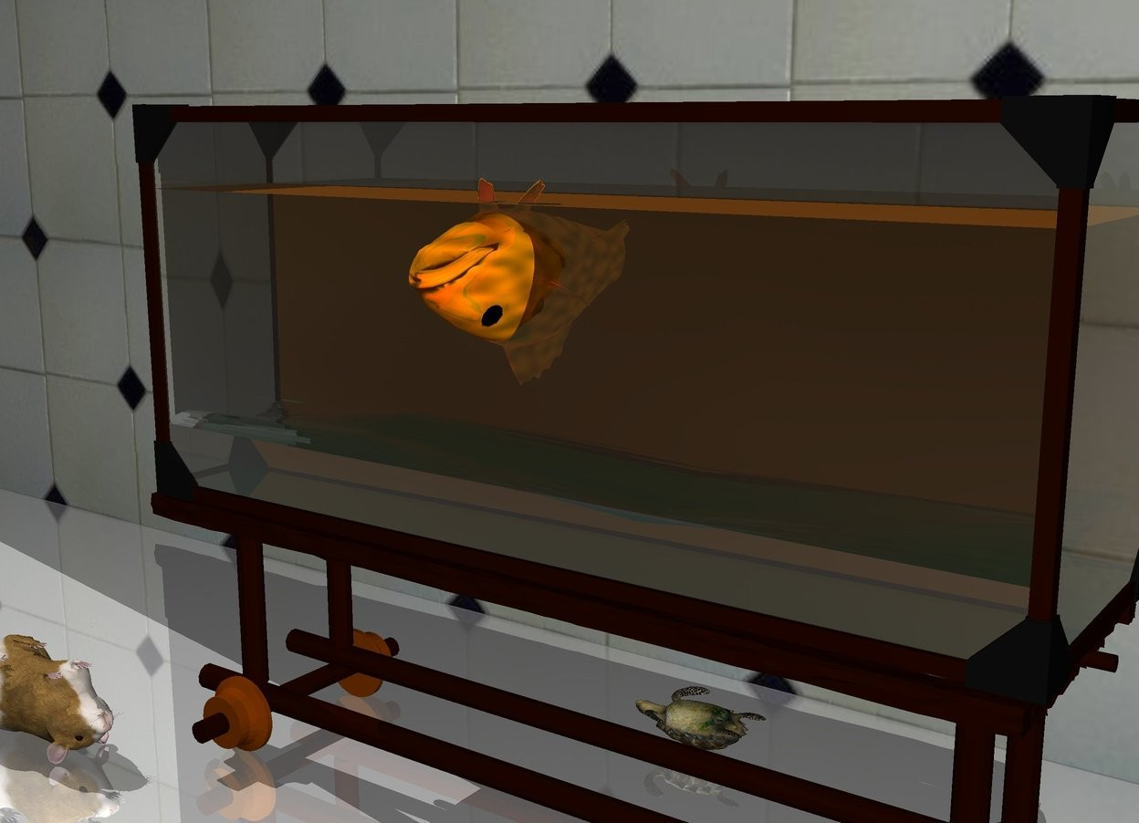 Input text: The orange gold fish is 1 feet in the fish tank. it is upside down. the very tiny turtle is behind the fish tank. it is upside down. it is facing left.  the tile wall is a foot behind the fish tank. the ground is shiny.  The guinea pig is in front of and to the left of the fish tank. it is facing right. it is upside down.
