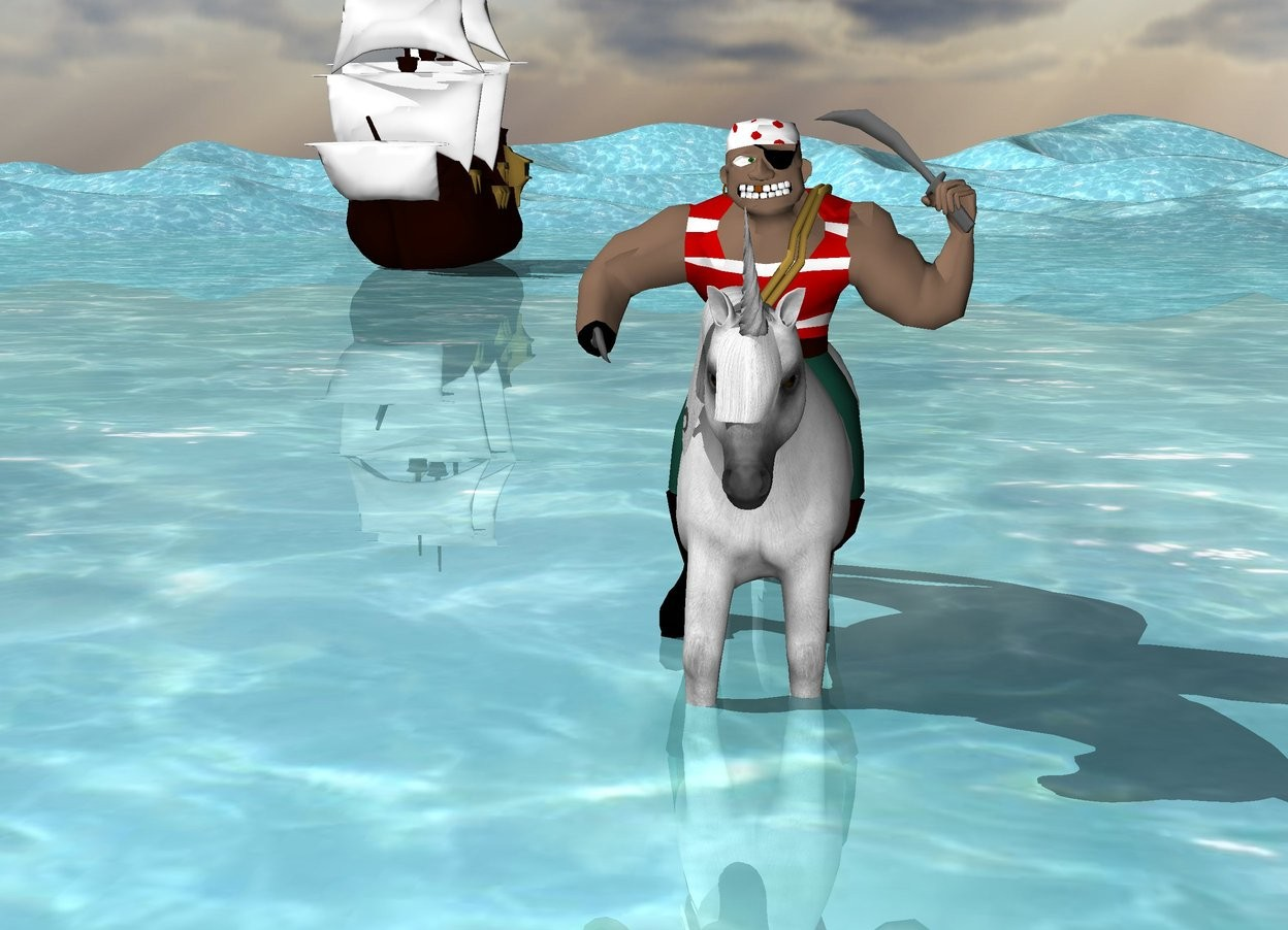 Input text: There is unicorn. The unicorn is 1 feet in the ground. There is a gangster 5 feet in the unicorn. The water desert. There is a small ship 70 feet behind the unicorn. The ship is 20 feet to the left of the unicorn.