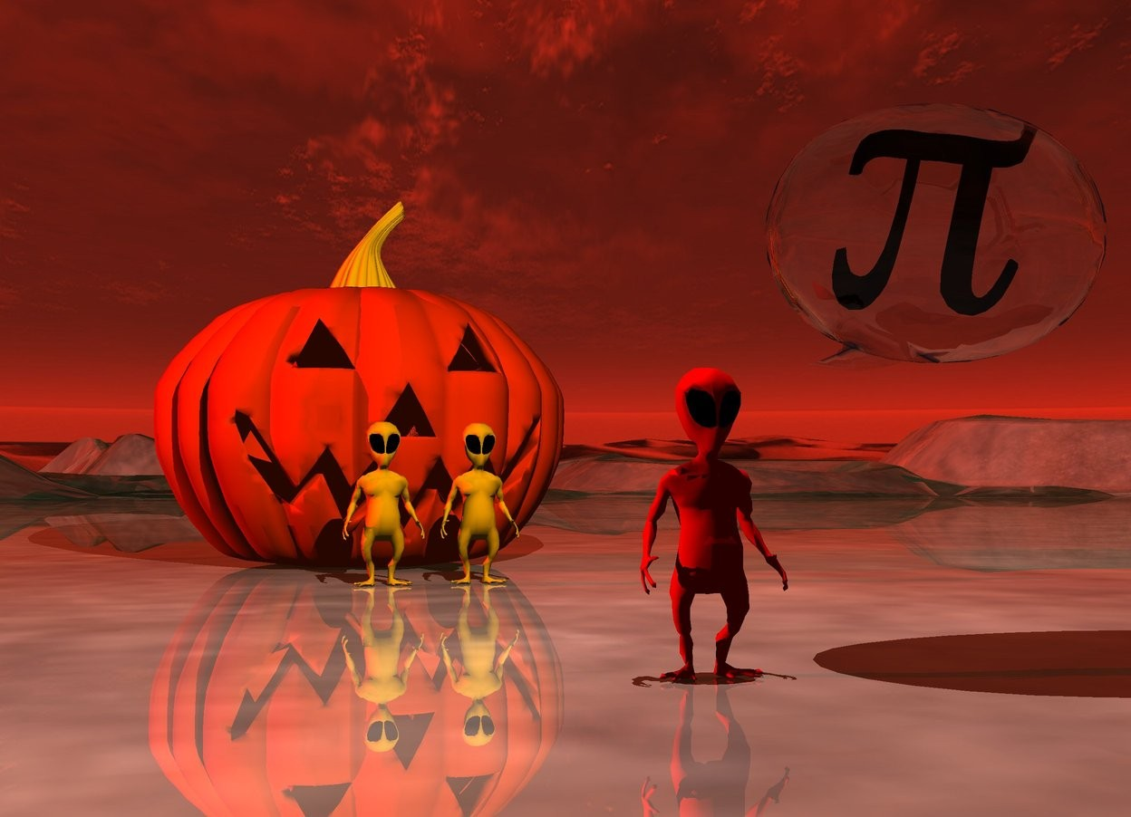 Input text: the very huge jack o lantern. two small orange aliens are a couple of feet in front of the jack o lantern. they are a few inches apart. a small red alien is 10 feet in front of the orange aliens. the talk balloon is above and to the right of the red alien. the black symbol is in the talk balloon. the ground is shiny. it is dusk. the sun is red. the white light is 5 feet above the red alien.  the camera light is black.