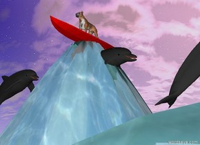 the dog is on the red surfboard. the surfboard is on the water mountain. the ground is water. the dolphin is 6 inches below the surfboard. it is facing right. another dolphin is 1 foot to the left of the dolphin. it is facing right. a dark grey dolphin is 4 feet to the right and under the surfboard. it is facing right.