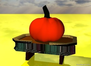 the huge pumpkin is on the matisse table.  the ground is shiny yellow.