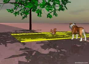 The sky is cloudy.  There is a yellow road on the ground.  A large dog sits on the ground.  the dog is facing left.  there is a cloud in the sky.  a large squirrel sits on the yellow road.  a tree is three inches to the left of the squirrel.