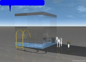 the small white horse is 2 feet to the right of the glass cube. the cube is 3 meters high. the ground is sand. the cube is transparent. the small white vase is 2 feet to the right of the horse. there are 5 flowers. the flowers are in the vase. the flowers are red and yellow. the golden ladder is in front of the cube. there is a storm.