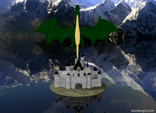 Input text: The castle has a concrete texture. The castle is on the big island. The ground is transparent. The island is grass. The mountain background. The enormous dragon is behind the castle. He is facing up