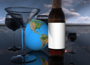 There is a plate on the black shiny ground. There is big glass to the right of the plate. The globe is to the left of the plate. There is a huge glass behind the globe. There is a very big glass in front of the globe. There is a very bright red light above the plate.. There is a  very big bottle  in front of the plate. There is a yellow light above the glass. There is a huge glass left of the globe.