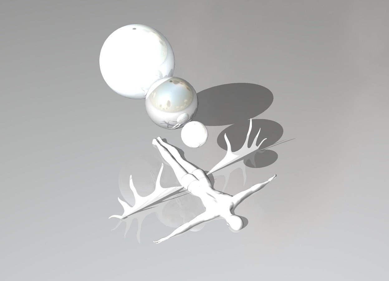 Input text: there is a flat shiny white irish elk. it is 6 feet in the ground. there is a shiny white sphere above the irish elk. there is a white woman 1.6 feet below the sphere. she faces down. there is a two feet tall shiny gray sphere behind the white sphere. there is a 3 feet tall shiny cloud blue sphere behind the gray sphere
