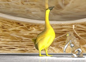 A silver ape faces a giant golden bird. She is 2 feet in front of the bird. The bird faces the ape. There is a 100 foot high transparent glass egg a foot inside the bird. There is a white light above the ape. There is a second white light to the left of the ape.  The ground is paper. It is noon. The sky is 1 mile wide hair.