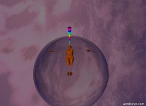 the ground is shiny anthracite gray. there is a ochre brown woman. she is 6 inches in the ground. she faces up. there is a 3 feet tall rainbow cone above her head. it is upside down. there is a grape 6 inches tall flat sphere on the cone. it faces up. there is a clear 100 feet tall clear sphere 100 feet above the rainbow cone. it is 100 feet behind the rainbow cone. the sun is thistle.