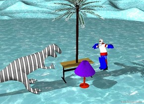the small palm tree is on top of the big table. the ground is water. there is a huge bright lamp on the ground south of the table. there is a very bright light south of the table. there is a big shiny man leaning against the table.  there is a green striped dinosaur on the ground west of the table.  the man is facing the dinosaur.   the dinosaur is facing the tree.