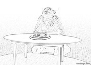 the small dining room table is on the ground.  the plate is on the dining room table.  the teacup is on the plate. the biscuit is on the plate.  the small spoon is in the cup. It is facing up.  the chair is behind the table.  the [hair] chimp is in the chair.  The ground is carpet. the sky is wallpaper. It is night.  The yellow light is one meter above the table.