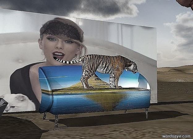 Input text: the tiger is on the [landscape] couch. it is facing right. the humongous pig is 5 feet to the right of the couch. it is facing left. the enormous food is 2 feet to the left of the couch. the [taylor] wall is 4 feet behind the couch.