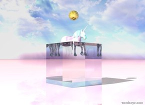 there is a very huge translucent cube. there is a shiny glass unicorn. the unicorn is 2.5 feet inside the cube. the ground is shiny pink. there is a large shiny gold sphere 1.5 feet above the unicorn.