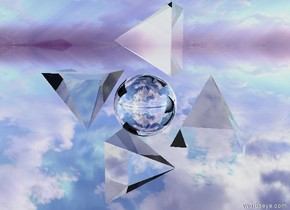 the ground is silver. the translucent pyramid is 10 feet above the ground. the silver sphere is near the pyramid. A translucent pyramid is above the sphere. The pyramid is leaning 90 degrees to the right. An upside-down translucent pyramid is west of the sphere. A translucent pyramid is below the sphere.  The pyramid is leaning 90 degrees to the left.