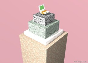 there is a 10 foot tall marble cube. there is an 8 foot tall glass cube 7 feet inside the cube. there is a 6 foot tall marble cube 3 feet inside the cube. there is a 4 foot tall marble cube 2 feet inside the cube. there is a big shiny white laptop .5 foot above the cube. the ground is silver. the sky is pink.
