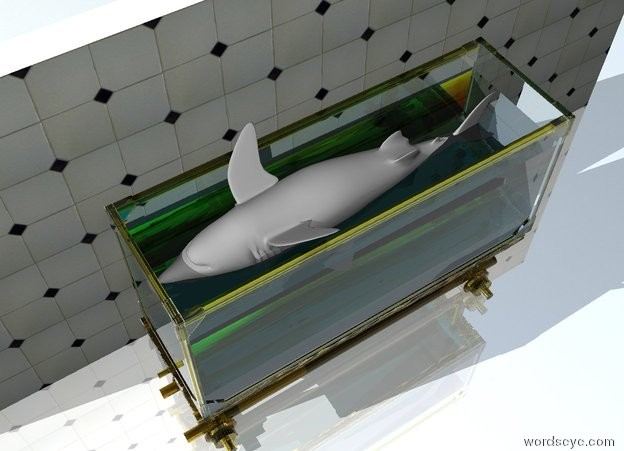 Input text: The grey shark is 2 feet in the large transparent fish tank. it is upside down. it is facing left.  the tile wall is a foot behind the fish tank. the ground is shiny.